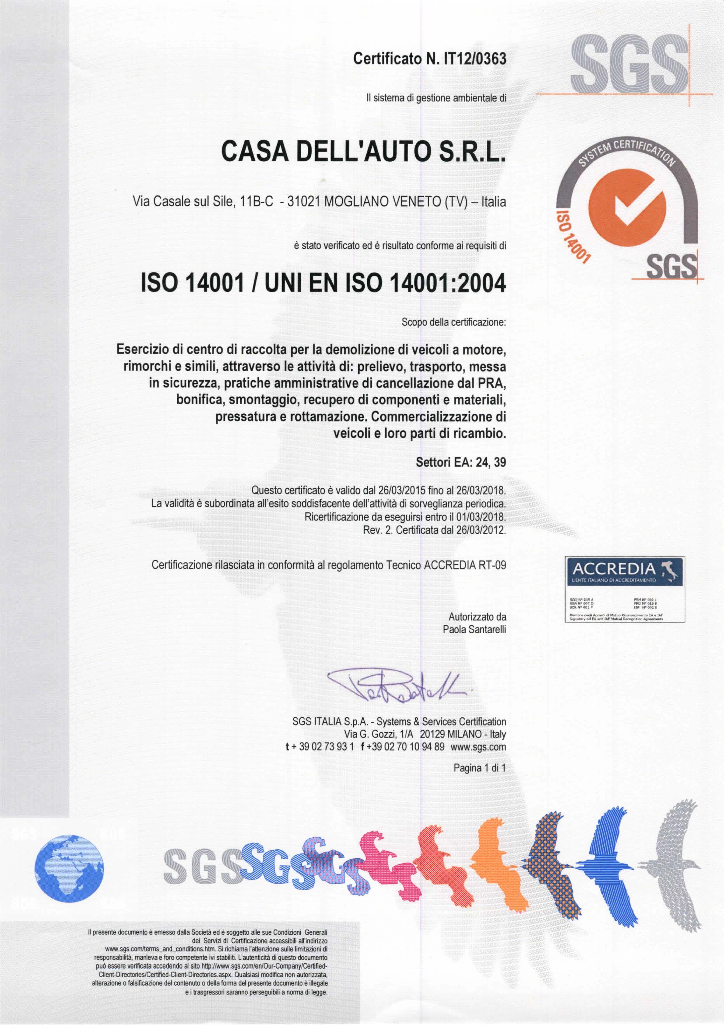 Casa dell'auto certificato iso 14001 2004